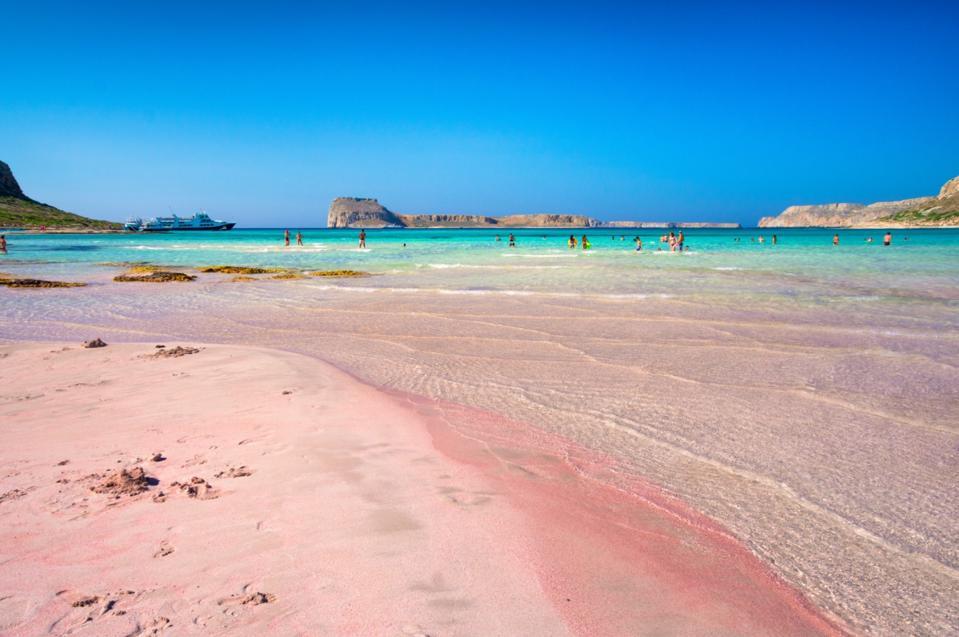 Pink sandy beach in Crete, Greece