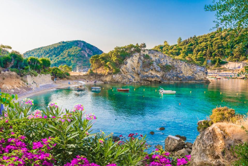 a cove in the island of Corfu in Greece