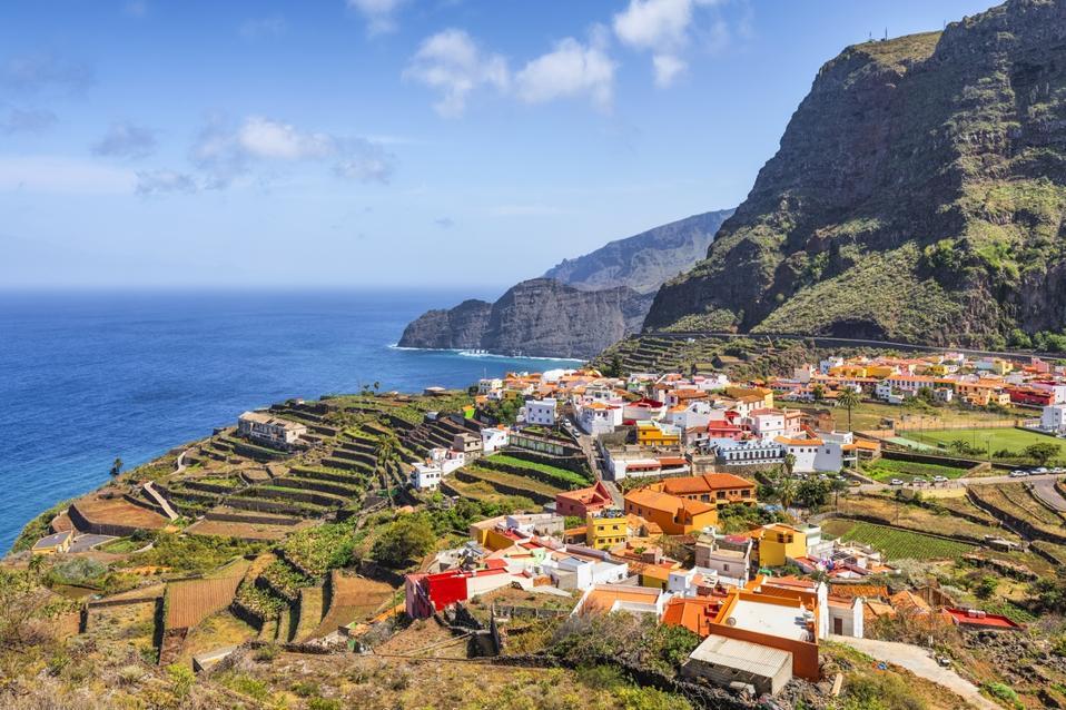 View of village Agulo on Canary Islands La Gomera.