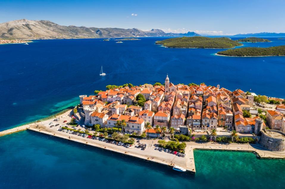 Panoramic of The island of Korcula in Croatia