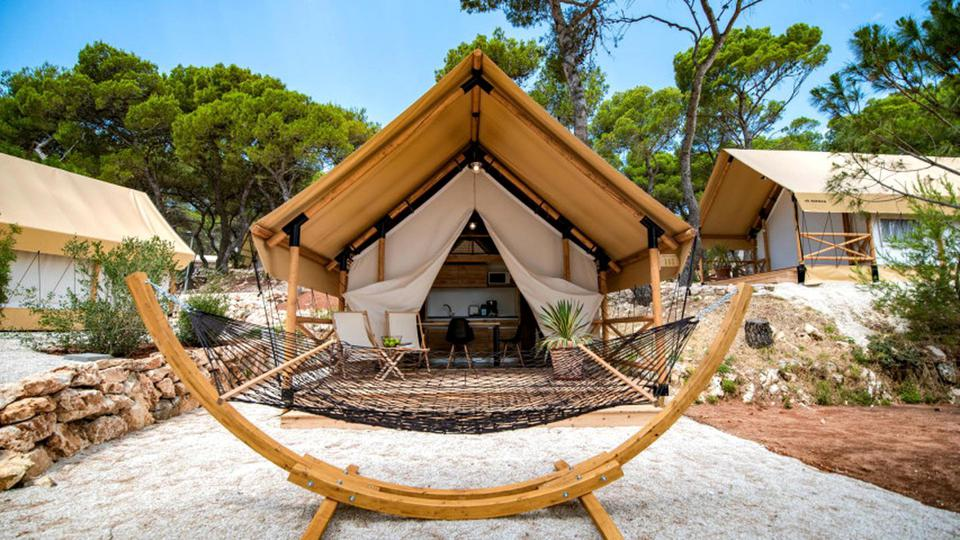 The safari-style tents in Croatia are right on the beach for a glamping vacation