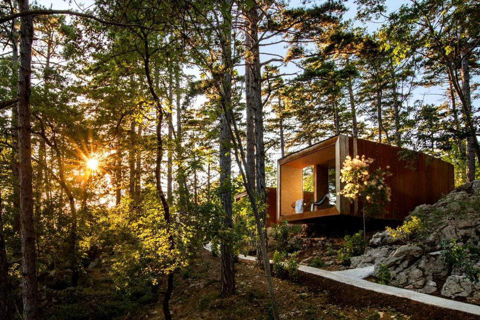 The glamping accommodations in Slovenia are set in the middle of the forest