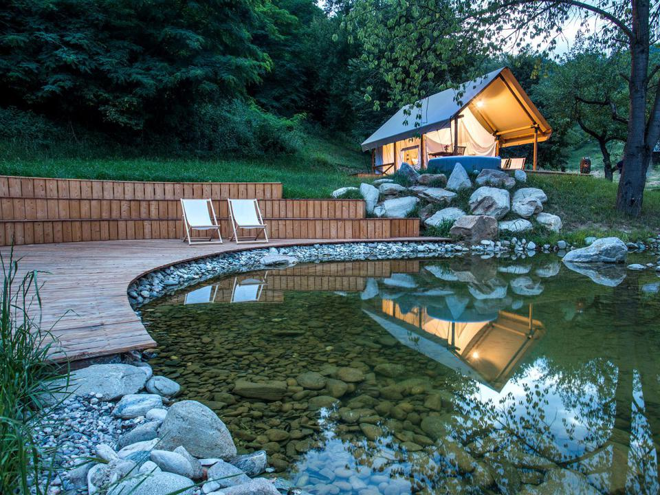 The safari-style glamping tents in Slovenia are located in a vineyard