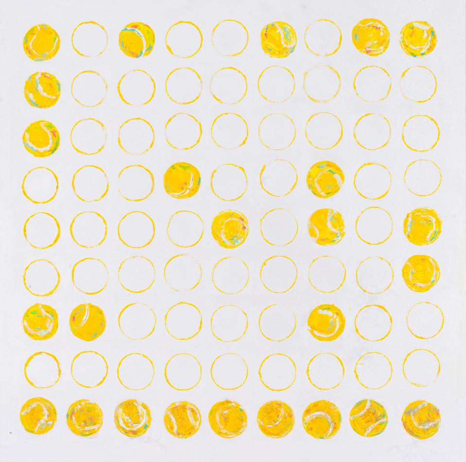 An abstract painting with yellow tennis balls and tennis ball outlines.