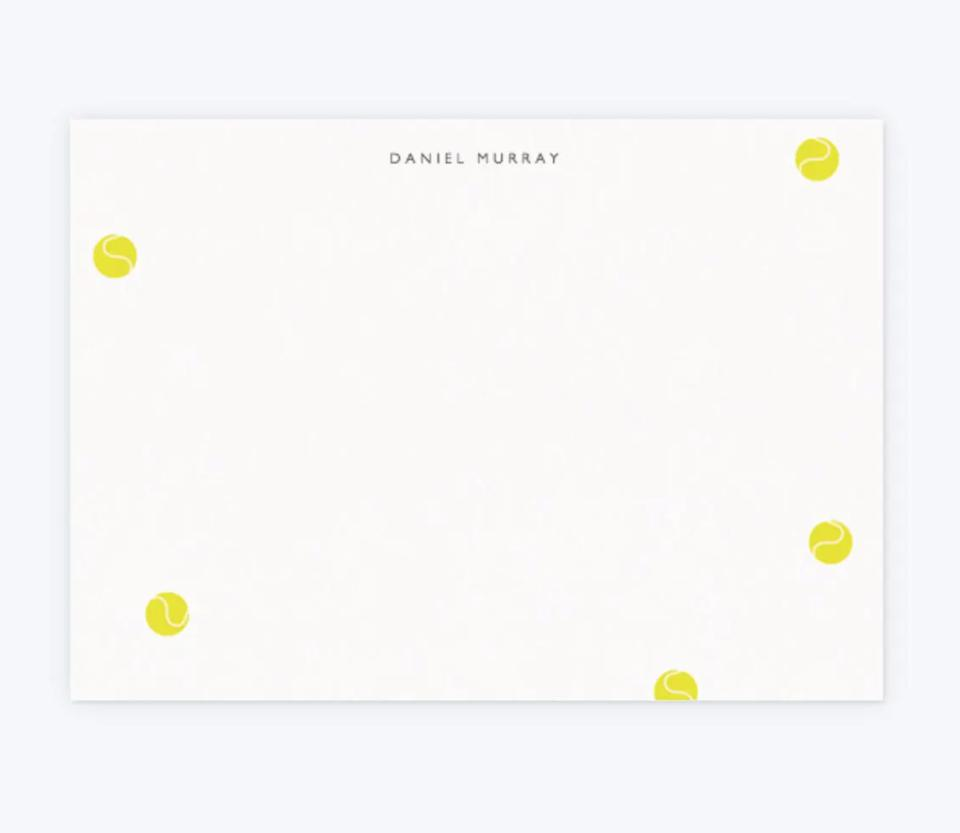 A personalized, tennis-ball dotted stationary card by London-based Papier.