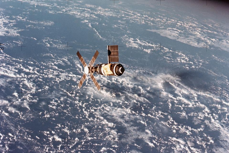Skylab Space Station in Orbit Over Earth