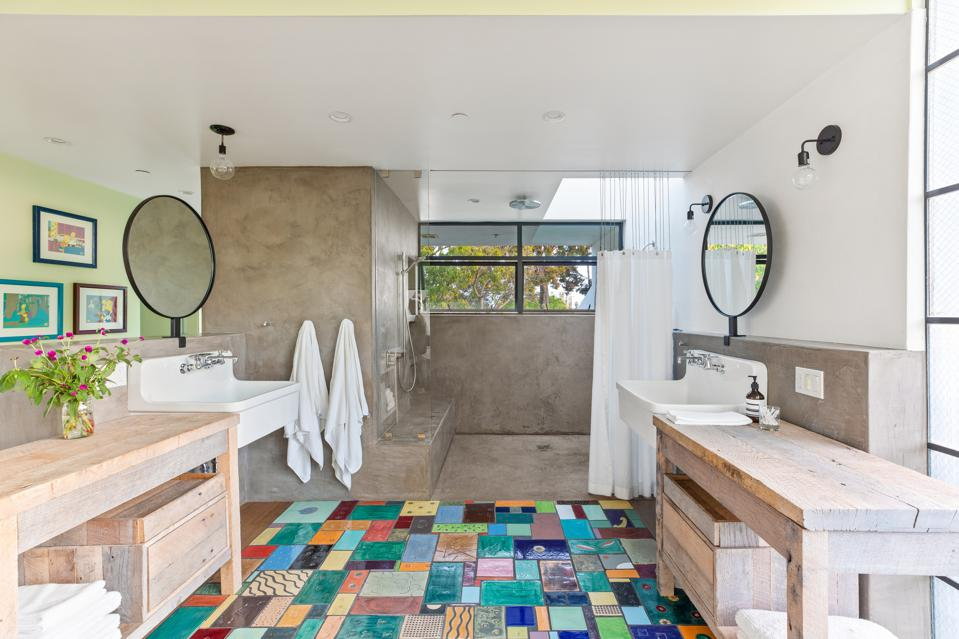 shower todd piccus invader house artistic tiles venice beach 813 palms