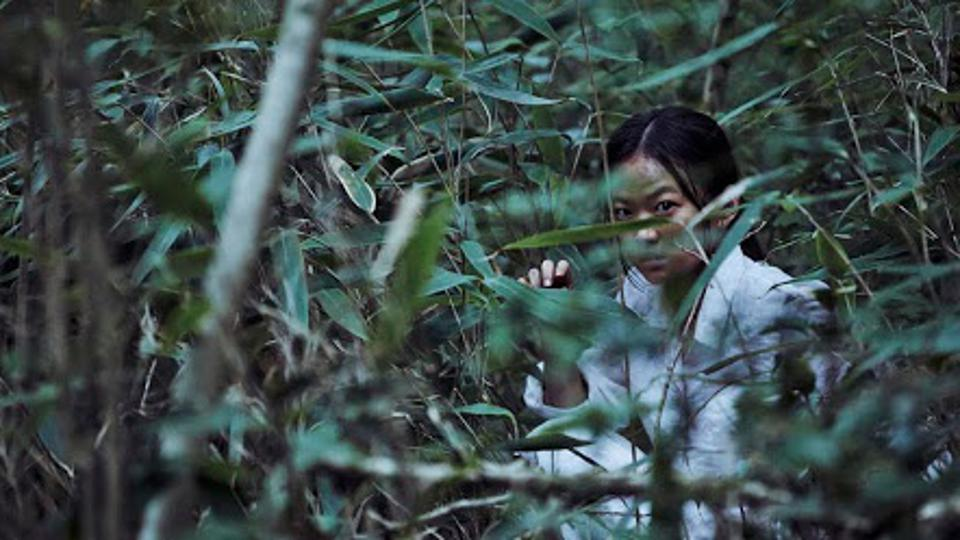 The Woman in White peers through some trees in the forest in The Wailing