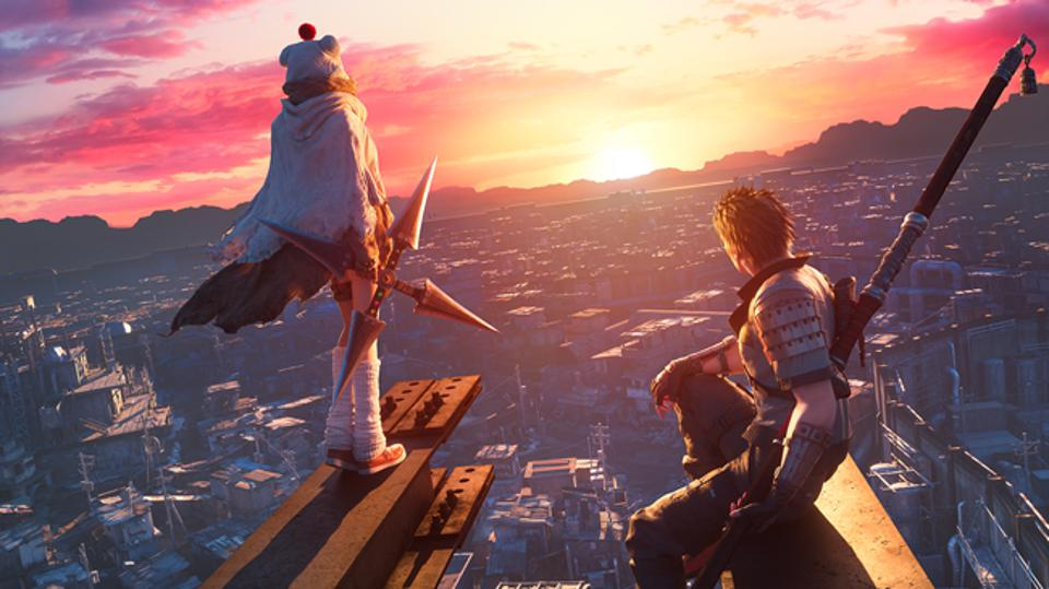 Final Fantasy 7 characters look out over a sprawling city