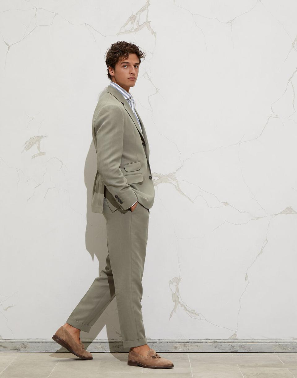 Linen and cotton satin deconstructed Cavallo blazer and linen and cotton satin leisure fit trousers with pleat.