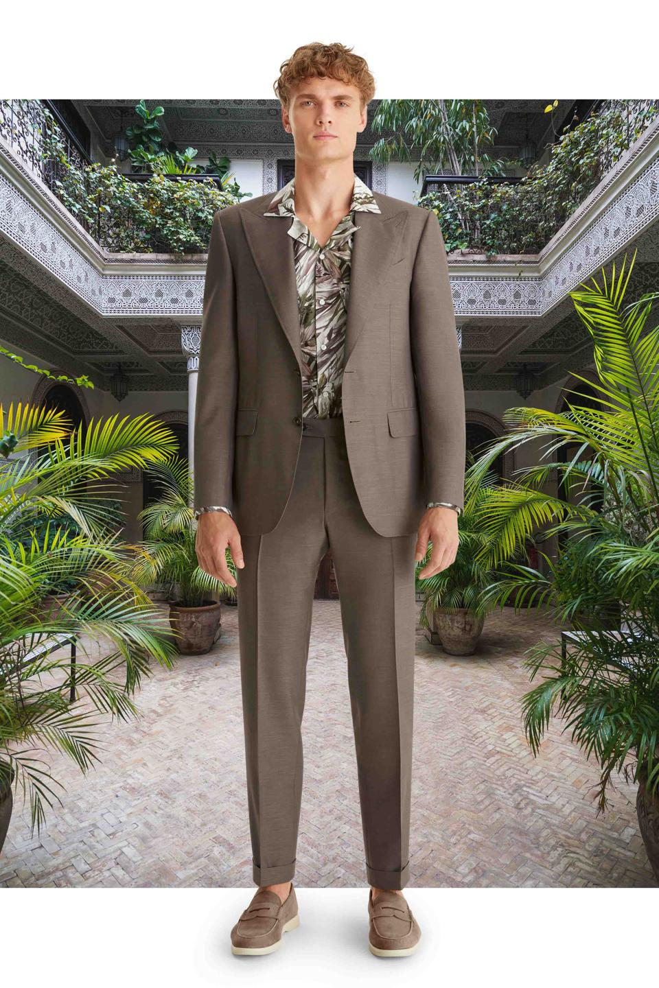 Taupe Wool and Silk Suit From the Exclusive Collection, made in Italy.