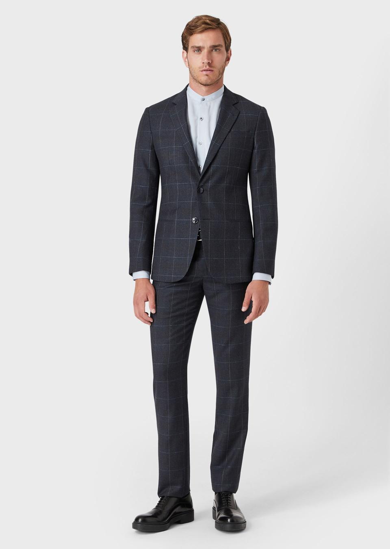 Giorgio Armani Slim Fit, Half-Canvas, Window Pane Check Suit in Midnight Blue