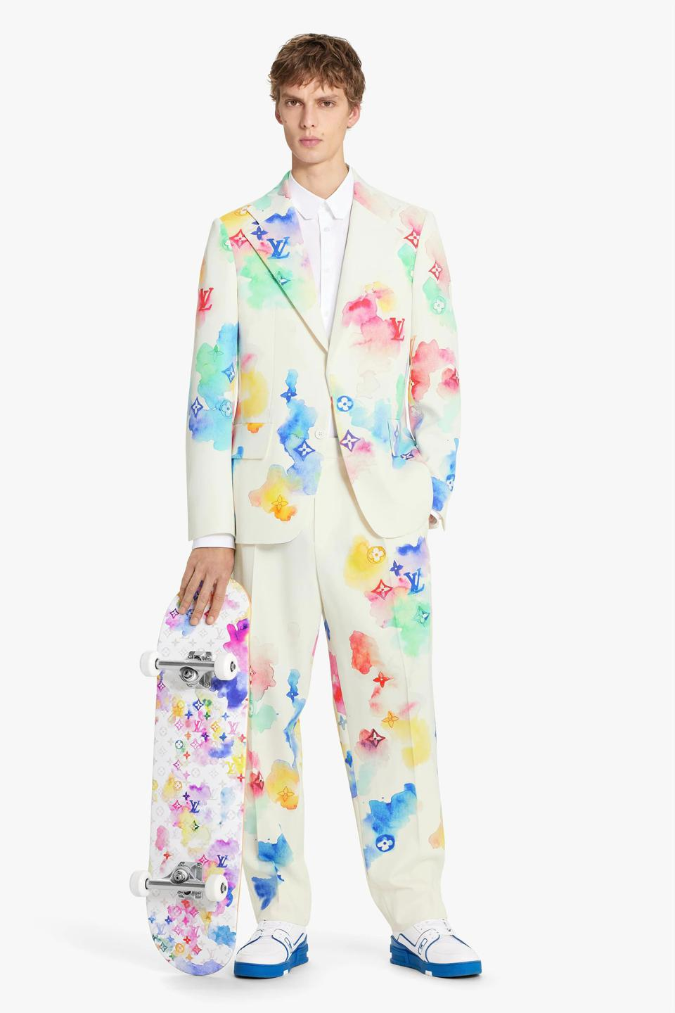 Watercolor Light Graphic Tailored Jacket with Multicolor Watercolor Light Tailored Pants