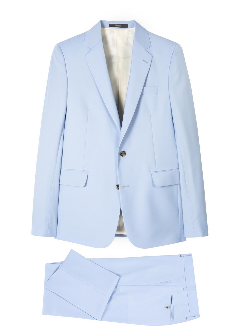 Men's Pastel Blue Wool-Mohair Suit