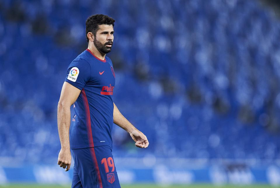 Atlético Madrid forward Diego Costa during an away game against Real Sociedad.
