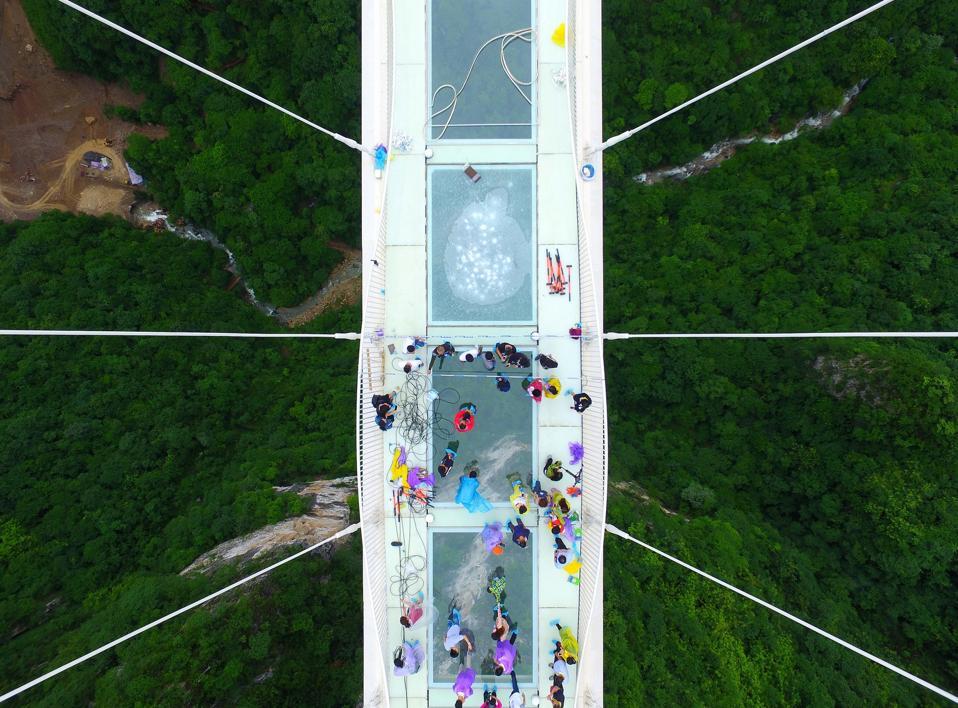 World's Longest Glass-bottomed Bridge Receives Safety Test In Zhangjiajie