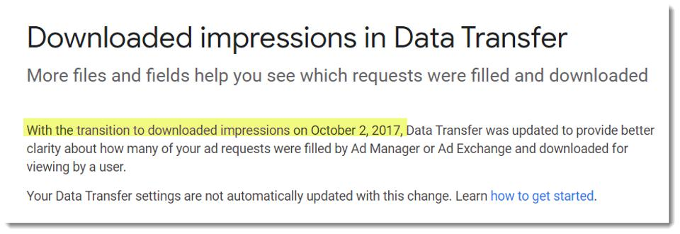 DoubleClick documentation on served impressions vs downloaded impressions