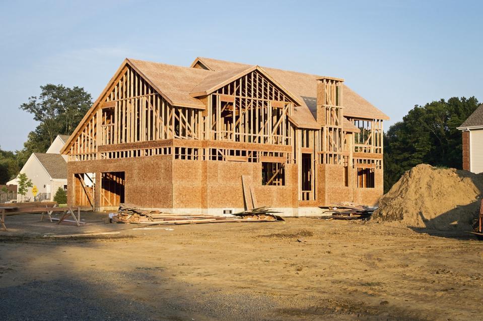 A framed house under construction