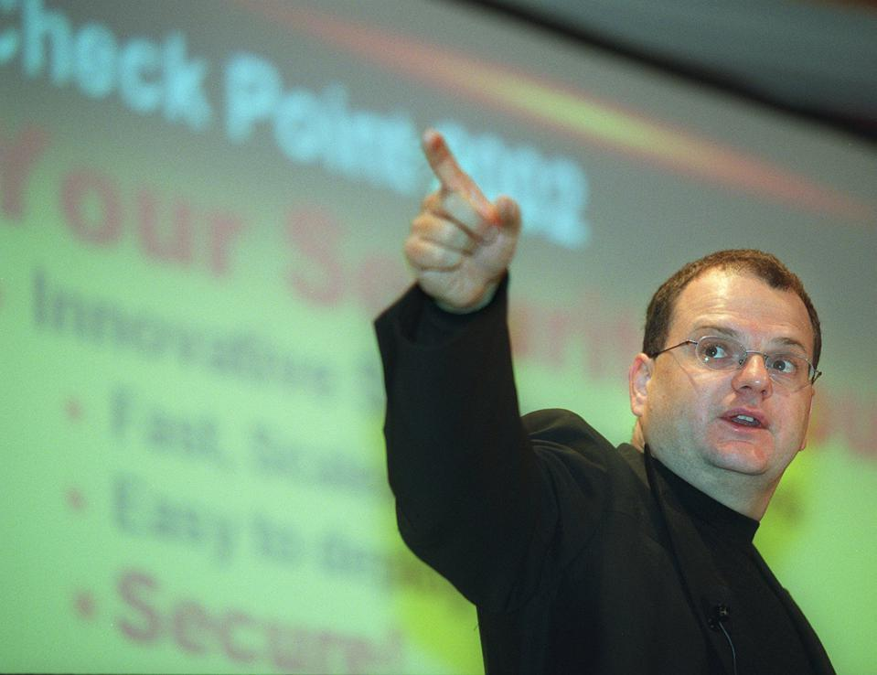 Gil Shwed, chairman of the Israeli software developer Check Point Softeware Technologies, gestures during a press briefing at Harbour Plaza Hotel in Hung Hom on August 9, 2002.