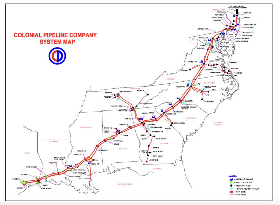a map of Colonial pipeline.