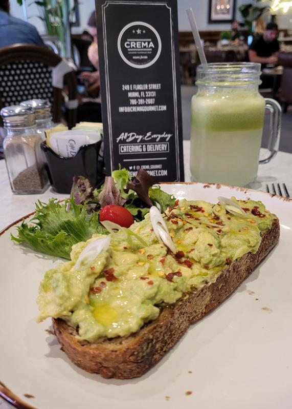 Avocado Toast and a Green health drink at Crema Gourmet, Miami