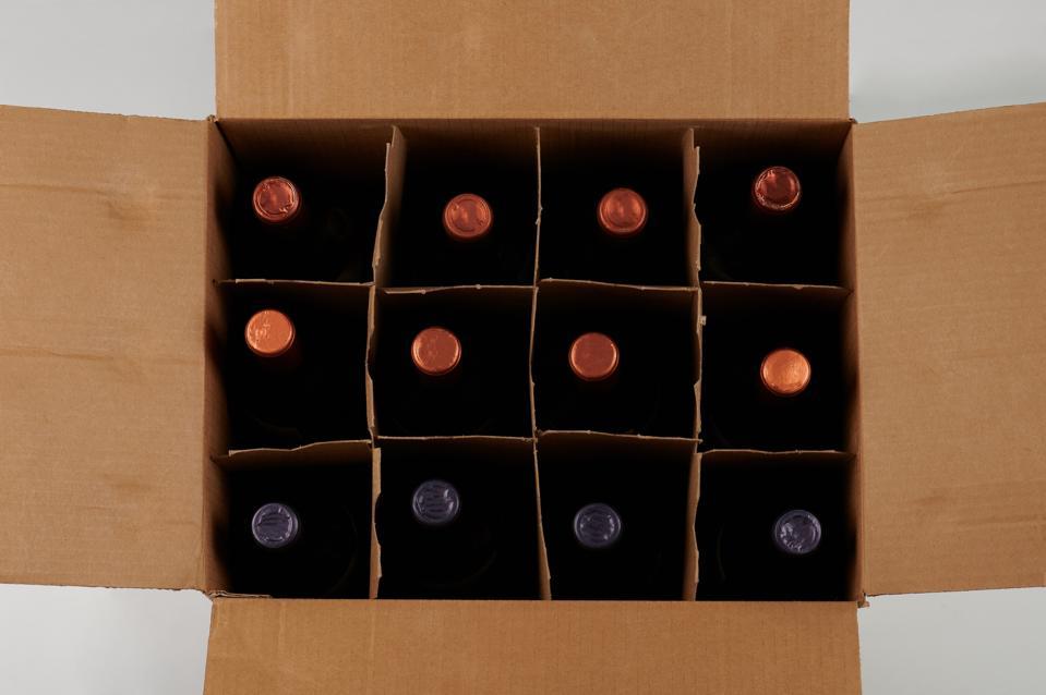 Wine bottles in open case