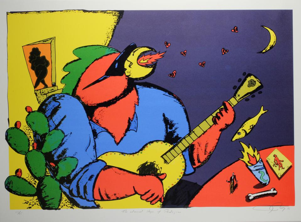 Joe Ray, The Advanced Stages of Pendjismo, 1996, lithograph, 53/85. Collection of the Tucson Museum of Art. Gift of MARS Artspace. 2003.13.7
