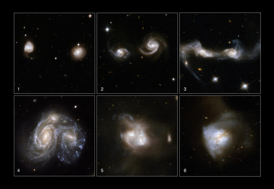 The classic picture of a merger: where two spirals interact, disrupt, merge, and settle.