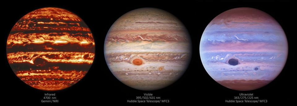 Three images of Jupiter show the gas giant in three different types of light — infrared, visible, and ultraviolet.