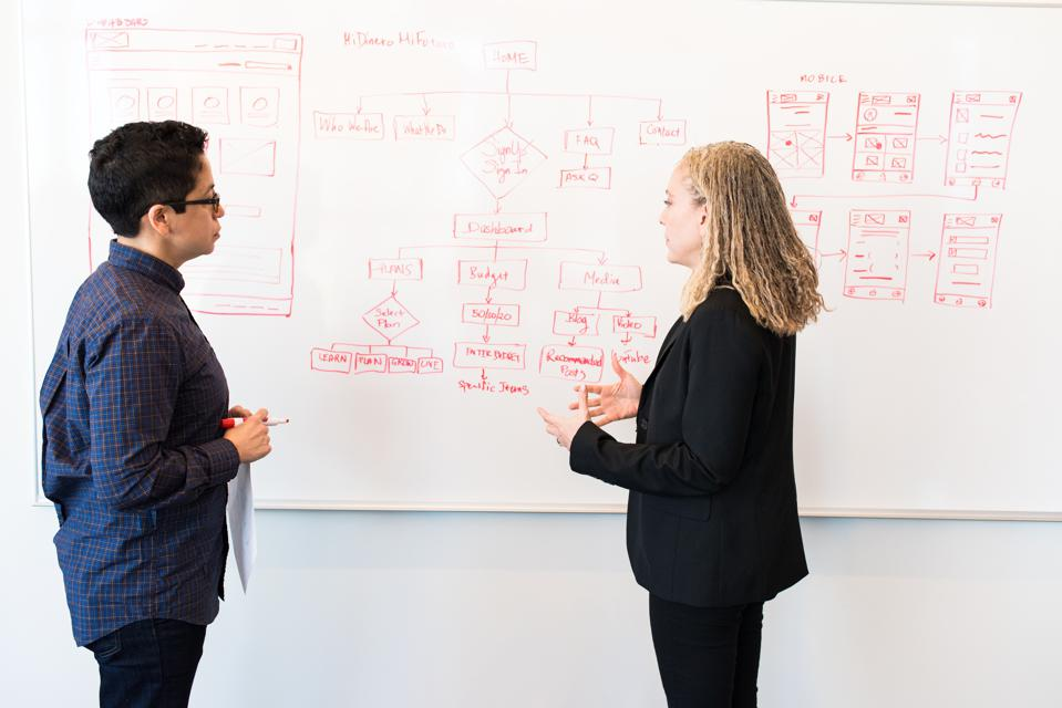 Two colleagues standing in front of a whiteboard