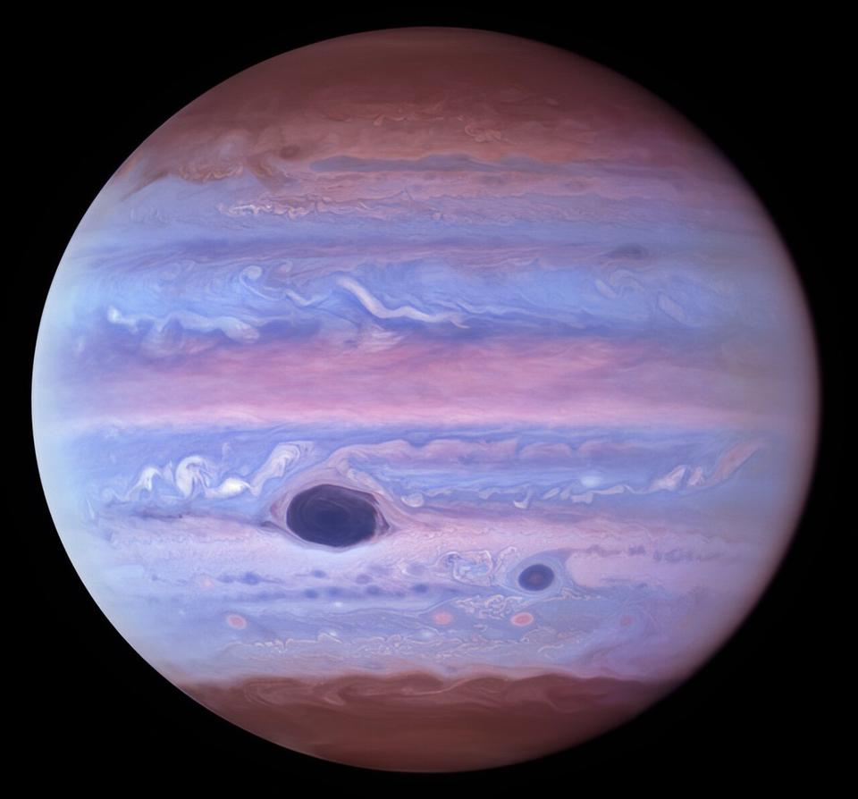 This ultraviolet image of Jupiter was created from data captured on 11 January 2017 using the Wide Field Camera 3 on the Hubble Space Telescope. The Great Red Spot and Red Spot Jr. (also known as Oval BA) absorb ultraviolet radiation from the Sun and therefore appear dark in this view.