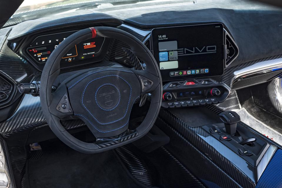 Interior and dashboard of the Zenvo TSR-S hypercar
