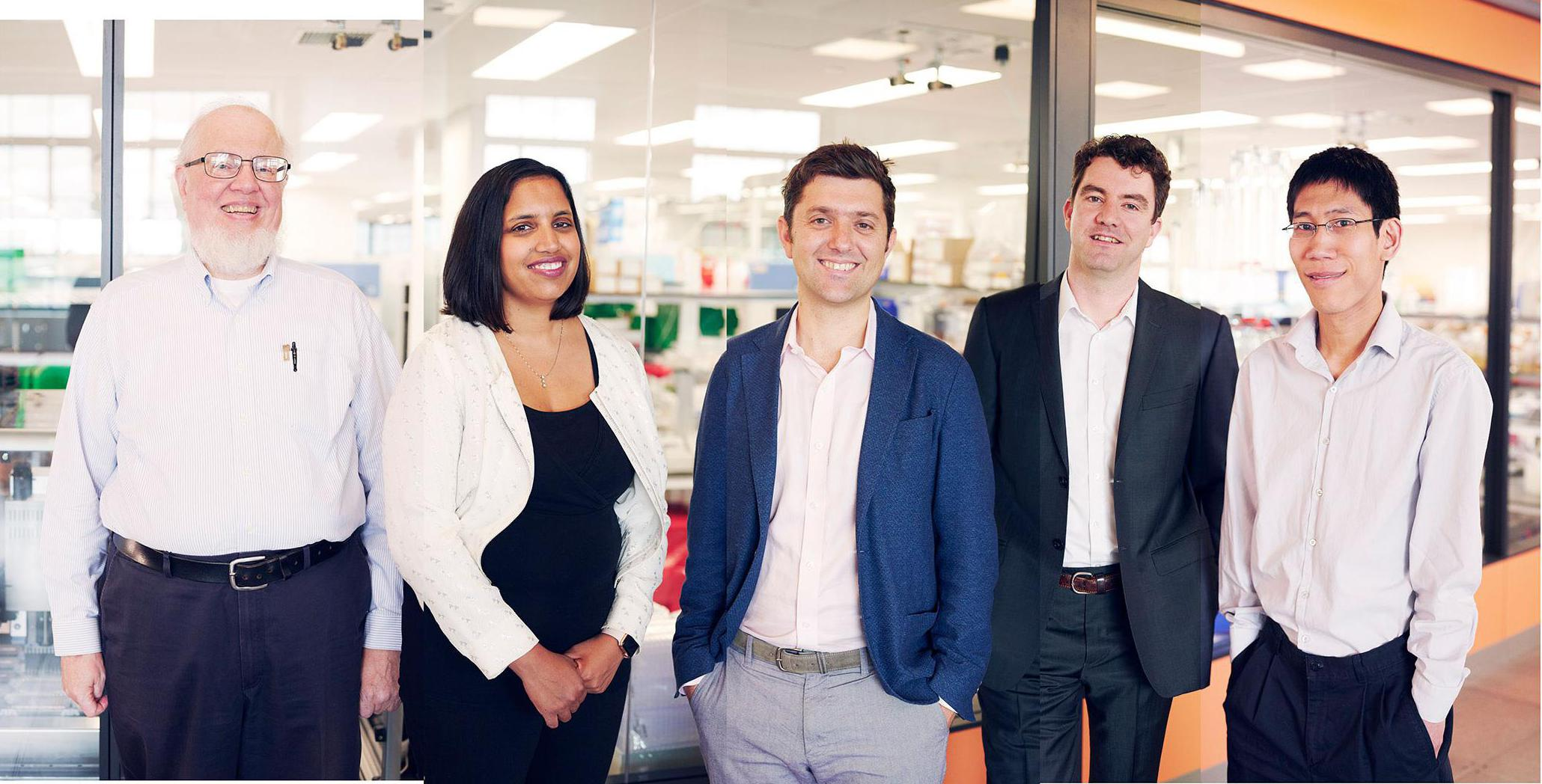 Ginkgo Bioworks cofounders (from left to right) Tom Knight, Reshma Shetty, Jason Kelly, Barry Canton and Austin Che.