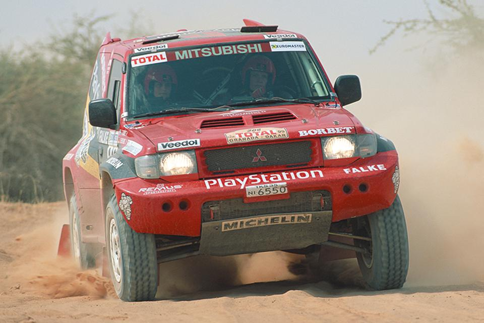 The 1999 Pajero T2 entry in the grueling 'Paris-Dakar' Rally, which had actually been downgraded to the Granada-Dakar Rally by then.