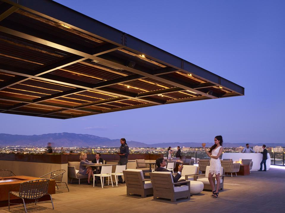 The rooftop at Hotel Chaco is easily the most stylish bar in Albuquerque, New Mexico