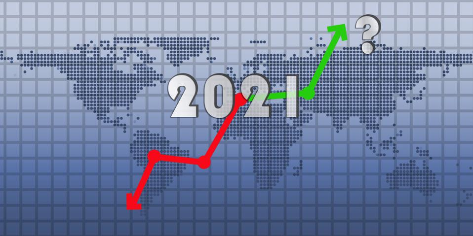 2021 post COVID-19 global economic situation. World economy, business, financial, industrial and market sectors potential recovery. Up and down arrows for stock chart, world map in the background