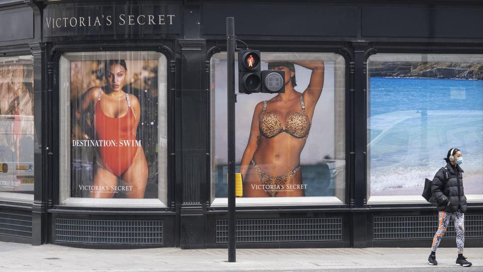Victoria's Secret windows in London, England.