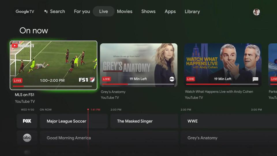 Screenshot of the YouTube TV channel guide on the main screen