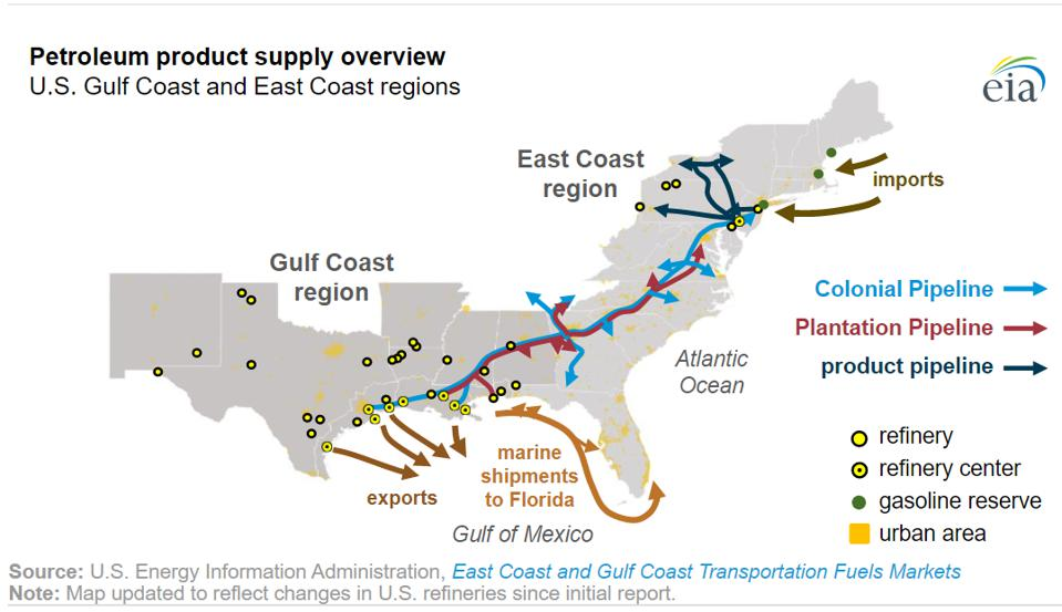 The Colonial Pipeline route.
