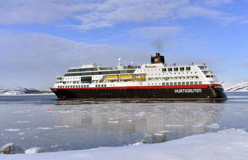A Hurtigruten cruise ship in Kirkenes, Norway.