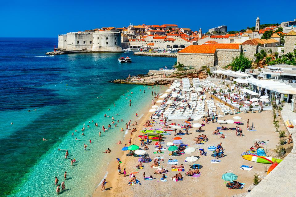 A beach with a great view of Dubrovnik's Old Town.