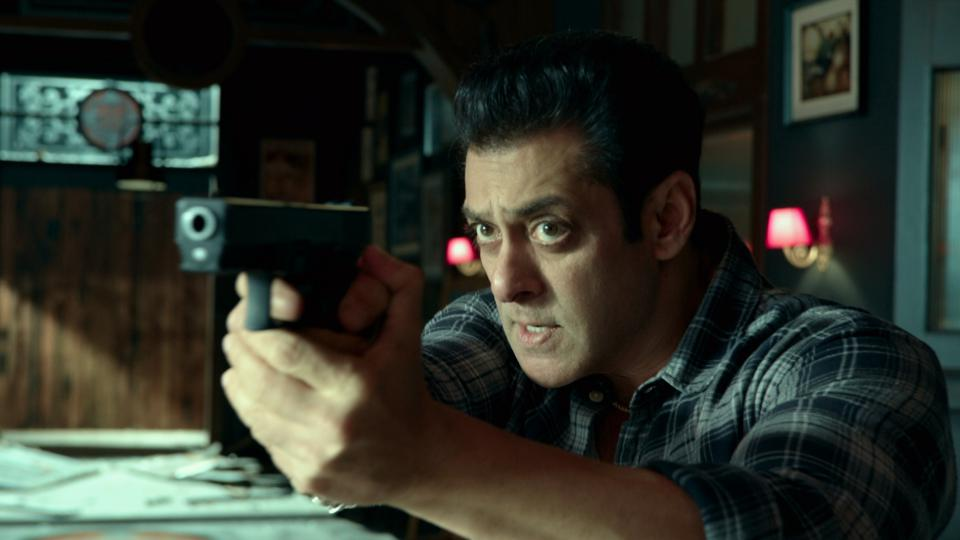 Salman Khan holds a gun in this still from 'Radhe Your Most Wanted Bhai'.