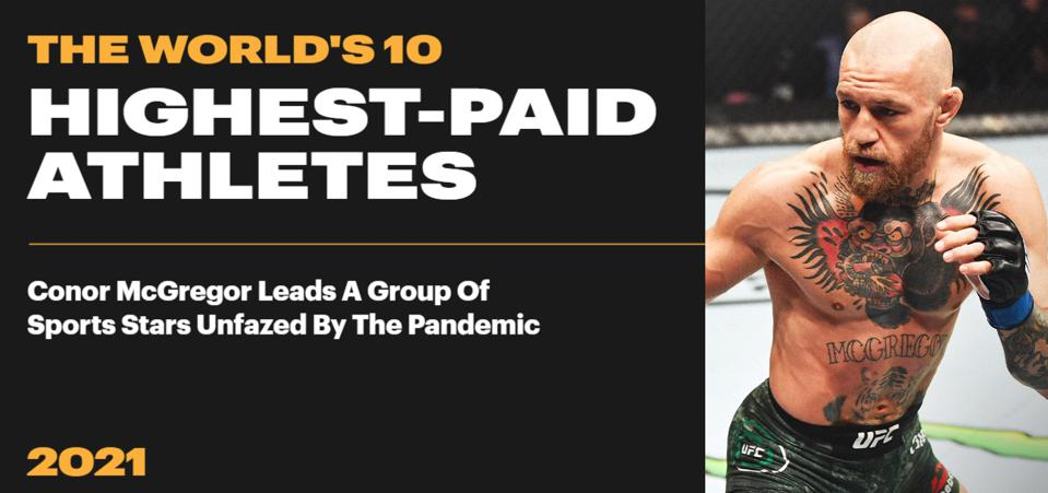 Forbes releases its list of the World's 10 Highest-Paid Athletes