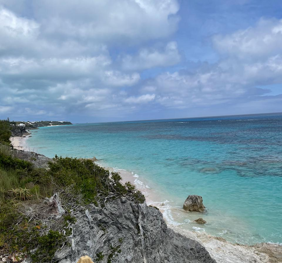 Looking at the pink sand of Bermuda and the turquoise ocean