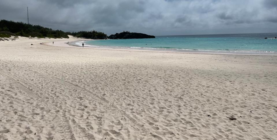 Looking out at the beach and water at Horseshoe Bay Beach, Bermuda