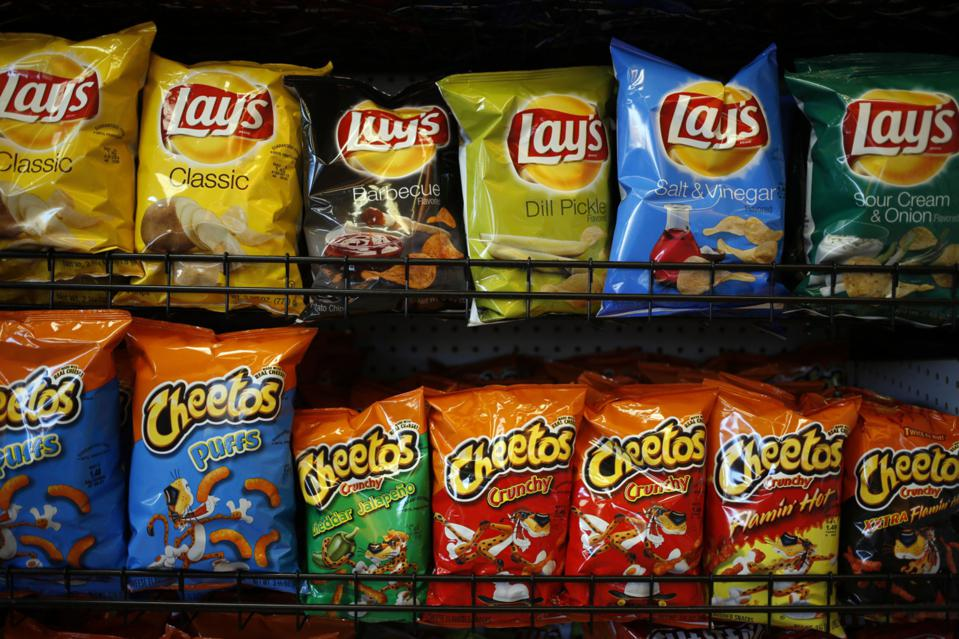 Frito-Lay snacks displayed for sale inside a Shell gas station in Louisville, Kentucky. Frito-Lay North America generated 26% of PepsiCo sales in 2020.