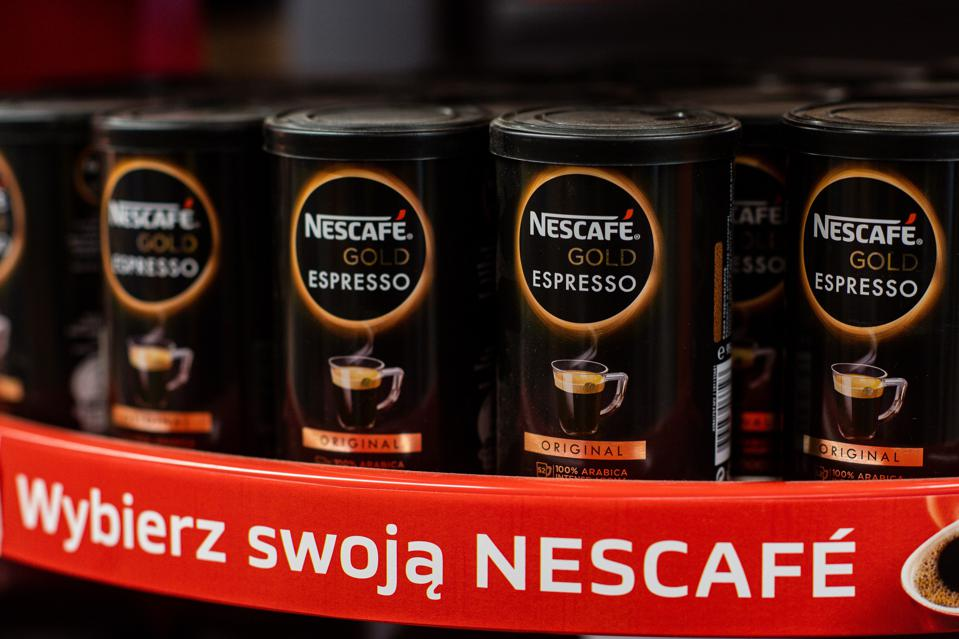 Nescafe Gold Espresso coffee from Nestlé seen at a grocery store in Gdansk, Poland.  (Photo by Mateusz Slodkowski/SOPA Images/LightRocket via Getty Images)