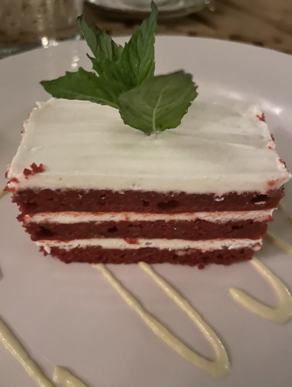 Red velvet cake at The Loren at Pink Beach