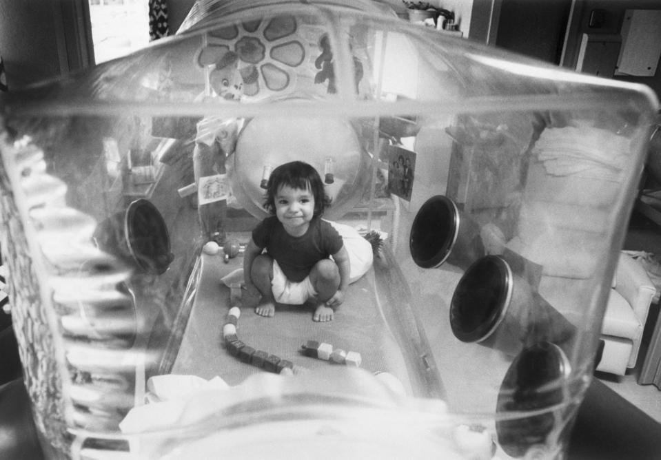 Baby David Plays In His Plastic Bubble
