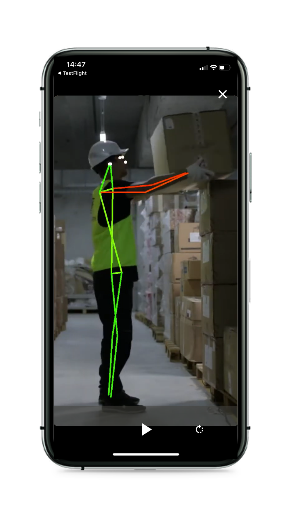 The SoterTask app uses video processed through a neural network to analyze the positions of various parts of the user's physique.